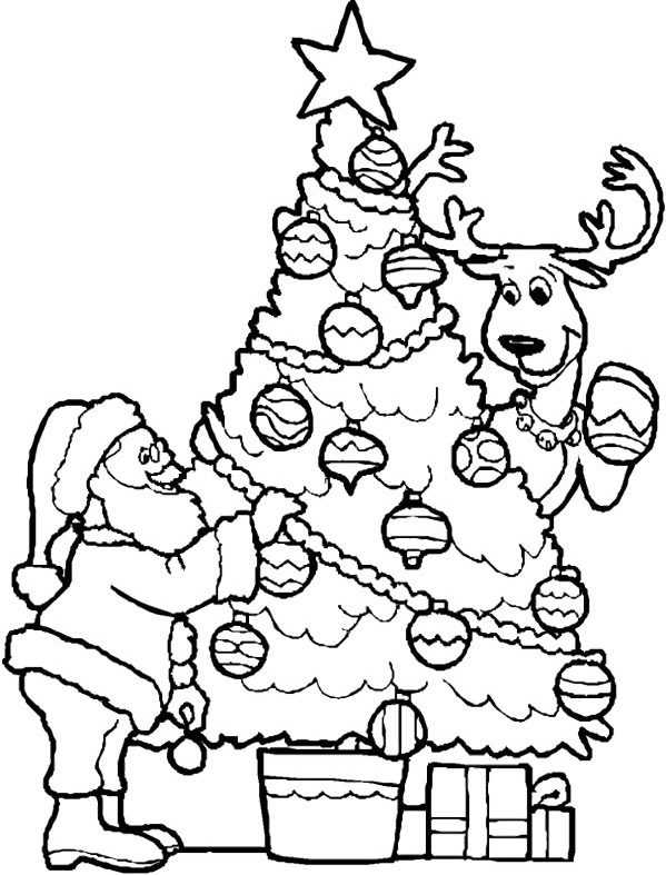santa-christmas-tree-coloring-page | Coloring Page Book
