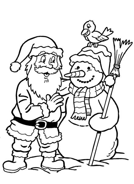 santa in a car images coloring pages | Santa Snowman Coloring Page & Coloring Book