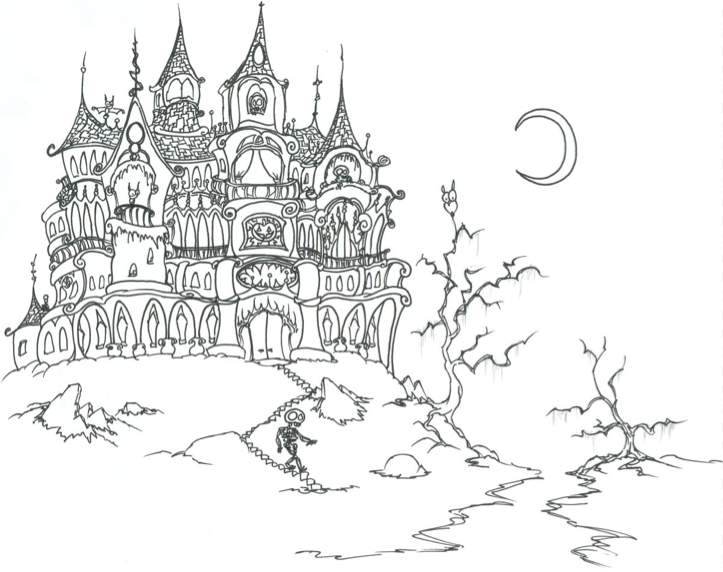scary haunted house coloring page - Halloween House Coloring Pages