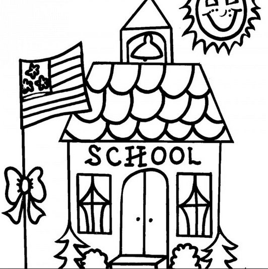 School House Coloring Page  Coloring Book