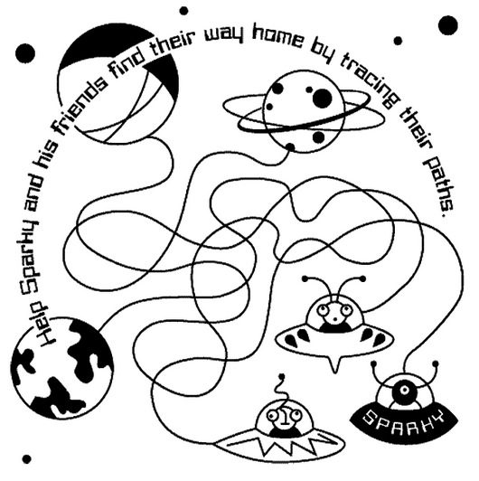 Space printable maze coloring book for Space printable coloring pages