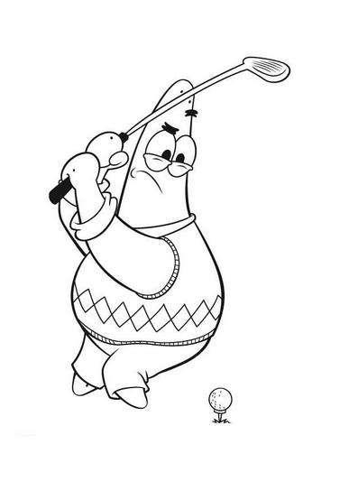 Spongebob Golf Coloring Page