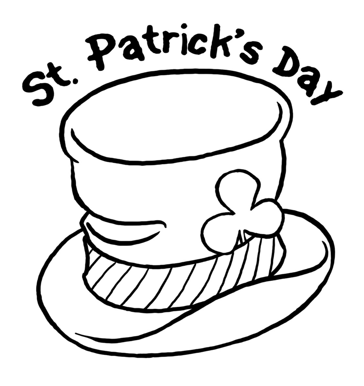 St paticks day hat coloring page