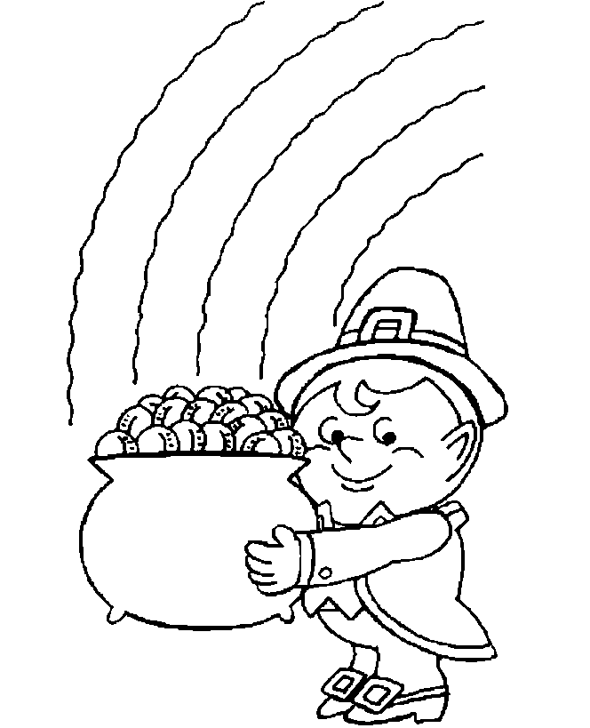 st patricks day gold coloring page - Coloring Pages Rainbow Pot Gold