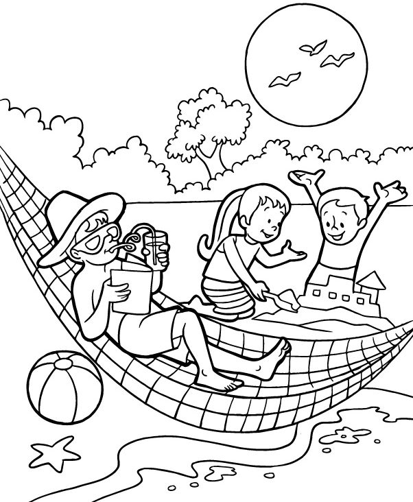 summer day coloring page - Summer Coloring Page