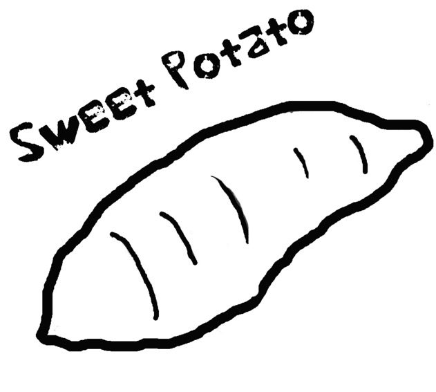 Sweet Potato Free Colouring Pages