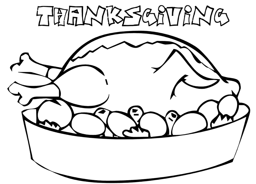Turkey Dinner Coloring Page Amp Coloring Book