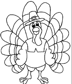 Thanksgiving Turkey Kids Coloring Page