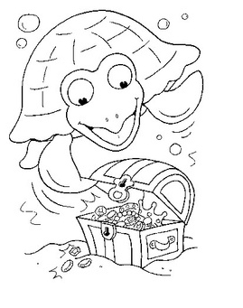 turtle-in-ocean-coloring-page