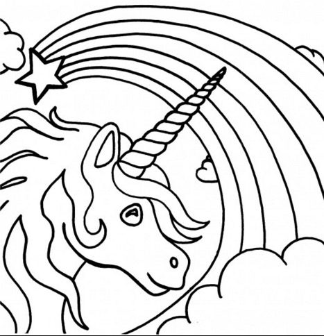 Unicorn rainbow coloring page
