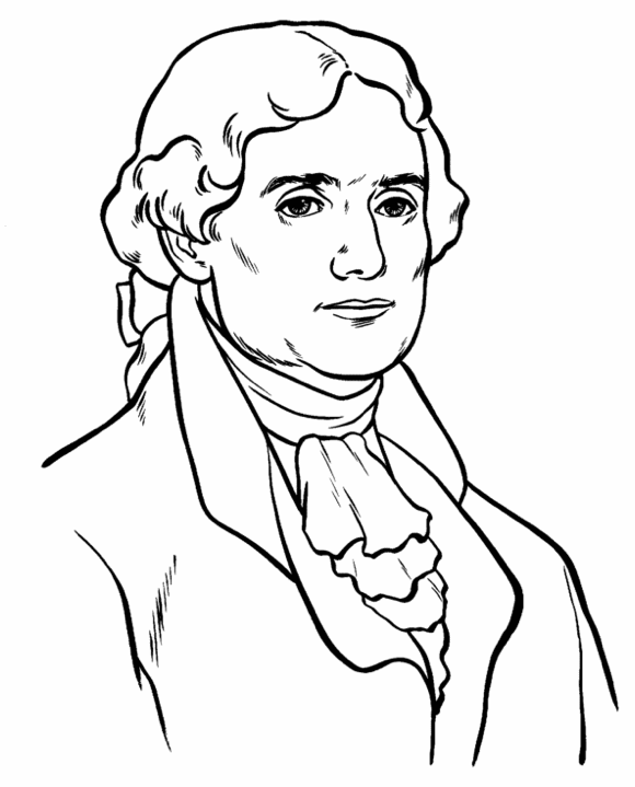 US President Thomas Jefferson Coloring Page Coloring Book