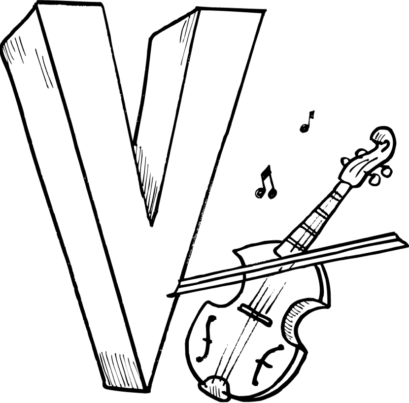 V Coloring Page Book