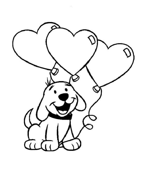 Valentine s day puppy coloring book for Valentine cartoon coloring pages