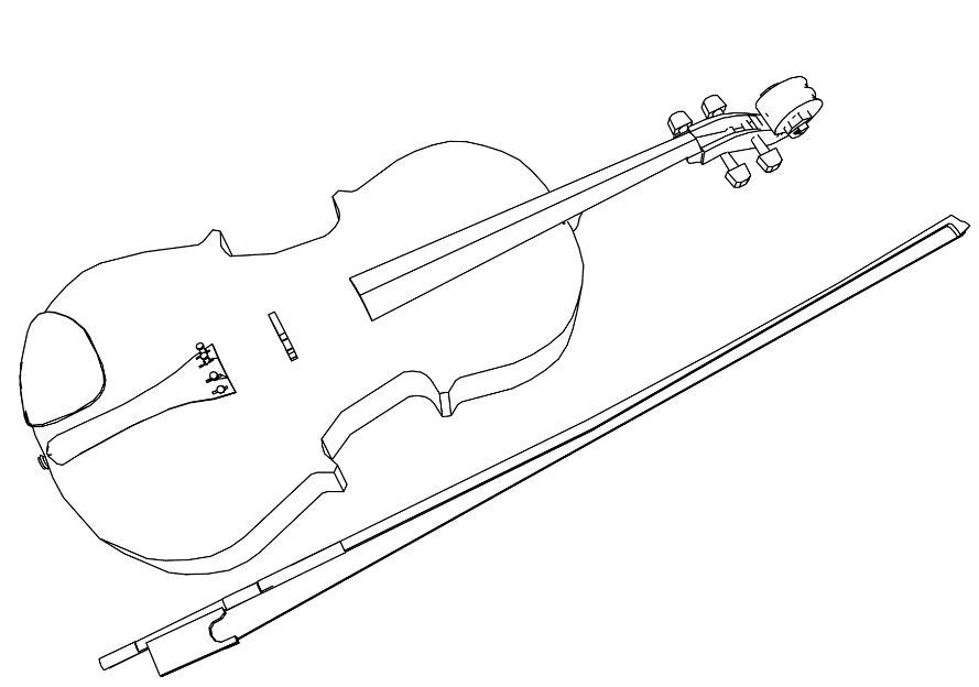 Viola And Bow Coloring Page
