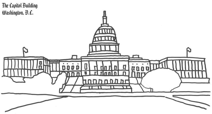 Washington DC Capitol Building Coloring Page Coloring Book