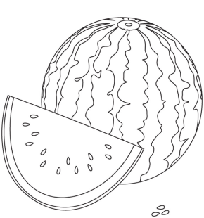 watermelon coloring page - Slice Watermelon Coloring Page