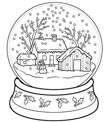 Winter Snow Globe Coloring Page & Coloring Book