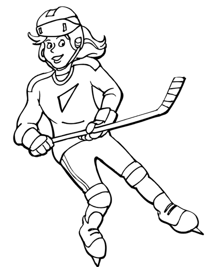 Womens Hockey Coloring Page & Coloring Book
