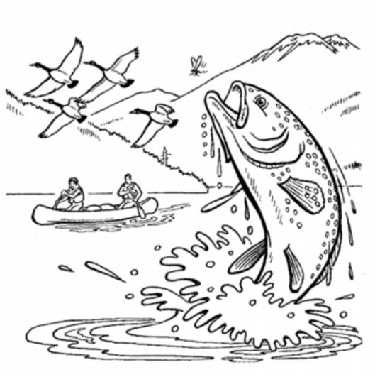 Alaska Fishing Coloring Page