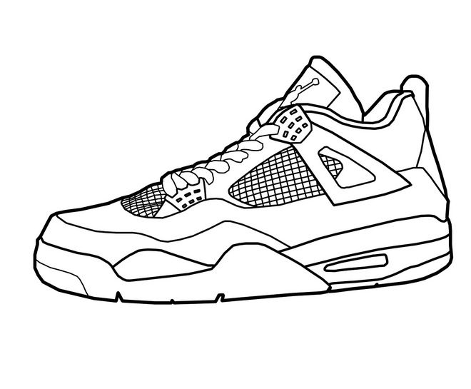 photograph relating to Printable Shoes titled Basketball Footwear Coloring Site coloring website page reserve for small children.