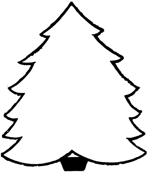 Blank Christmas Tree coloring page & book for kids.