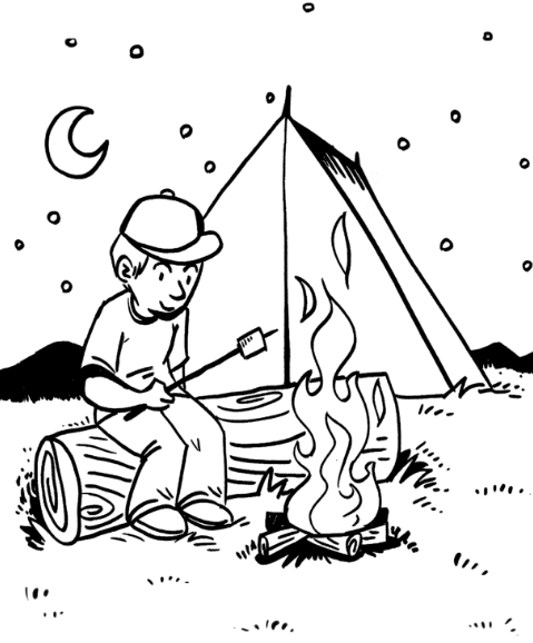 Camping Campfire Coloring Page coloring page book for kids