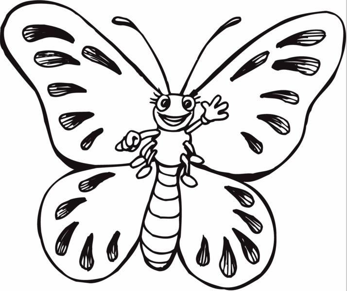 Cartoon Butterfly Coloring Page & Coloring Book