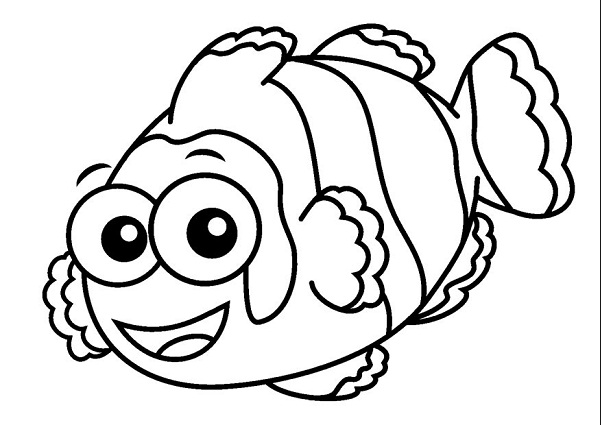 Cartoon Clown Fish Coloring Page Book For Kids