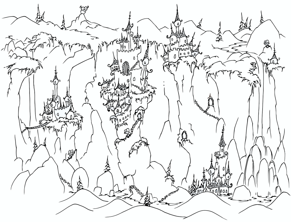Castle on Cliffs Coloring Page coloring page & book for kids.