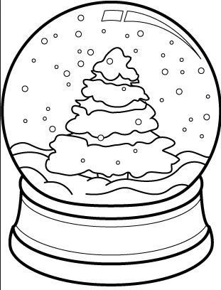 christmas tree snow globe coloring page