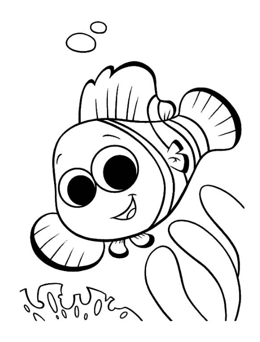 Clown Fish Coloring Page Book For Kids