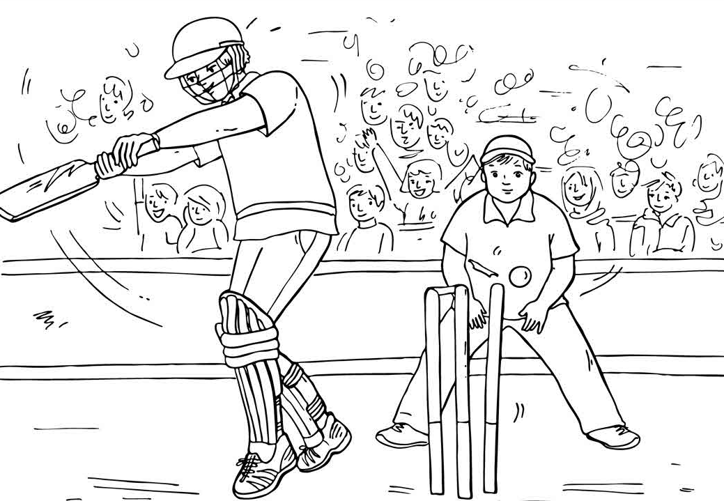 Cricket Match Coloring Page Book