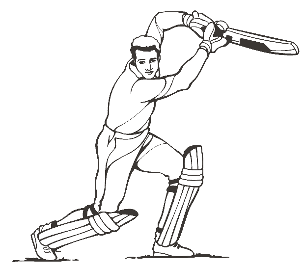 Cricket Player Coloring Page Amp Coloring Book