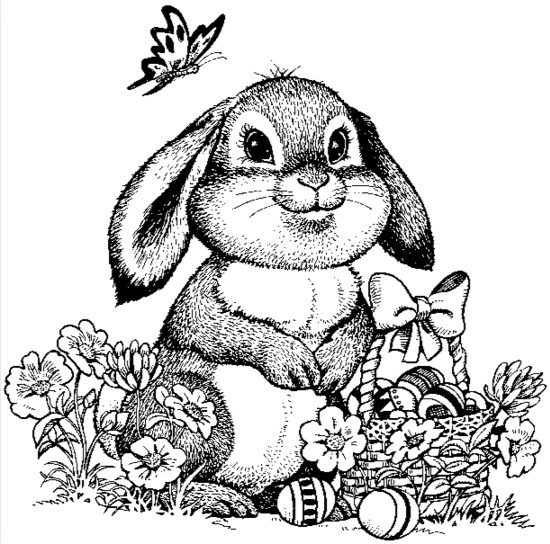 Detailed Easter Bunny Coloring Page Coloring Page Book For Kids