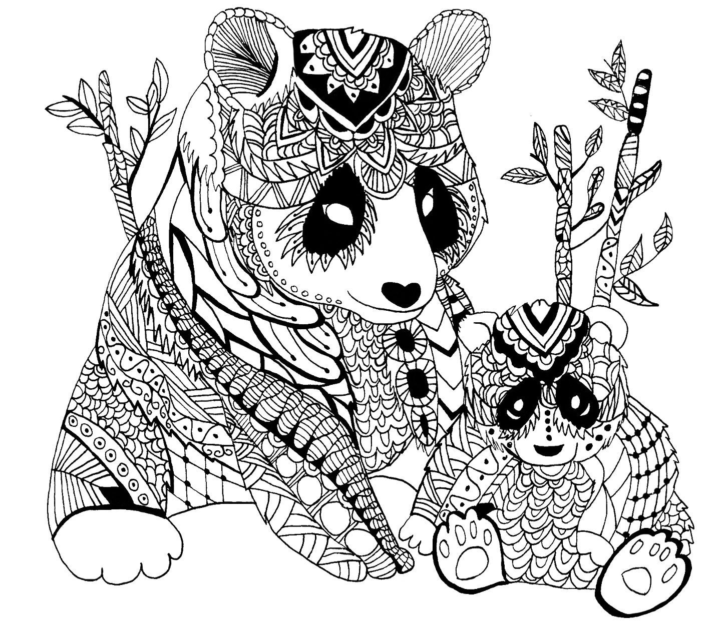 Adult panda coloring page animals
