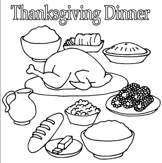 Thanksgiving Dinner Coloring Page Book For Kids