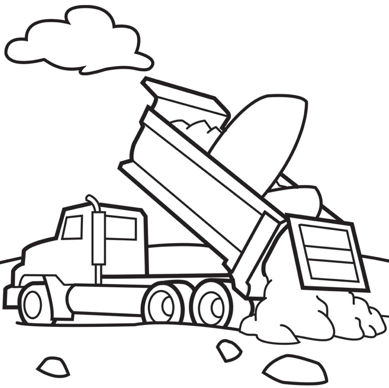 Dump Trucks Coloring Page coloring page & book for kids.