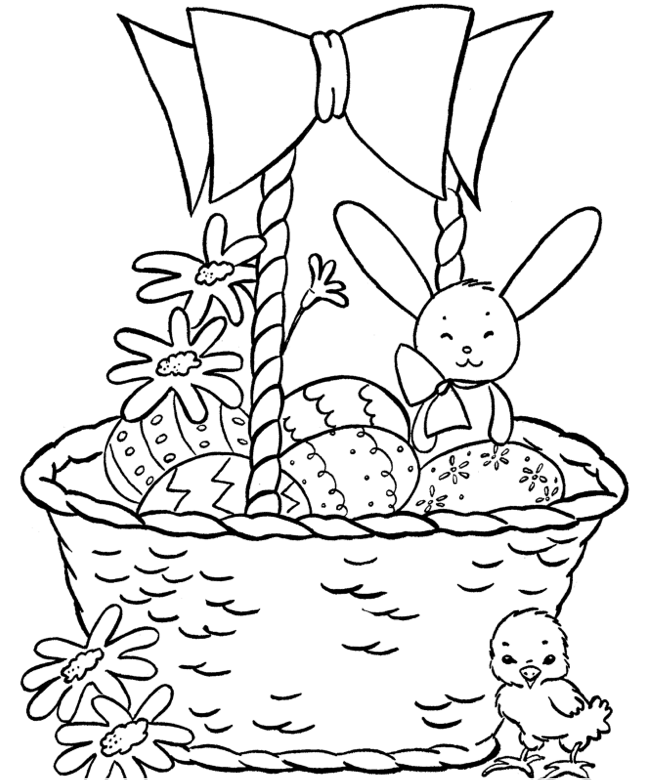 Mrs Bunny With A Basket Of Easter Eggs Coloring Page: Easter Basket Coloring Page Coloring Page & Book For Kids