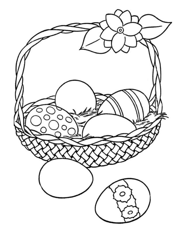 Easter Egg Basket coloring page & book for kids.