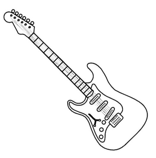 Electric Guitar Coloring Page & Coloring Book
