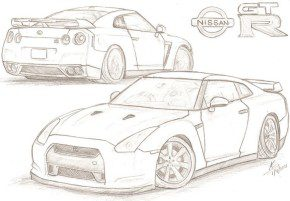 Cars : Nissan GTR Coloring Page, NissanGTR Coloring Page, GTR ...