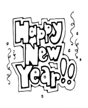 Happy New Years Coloring Page