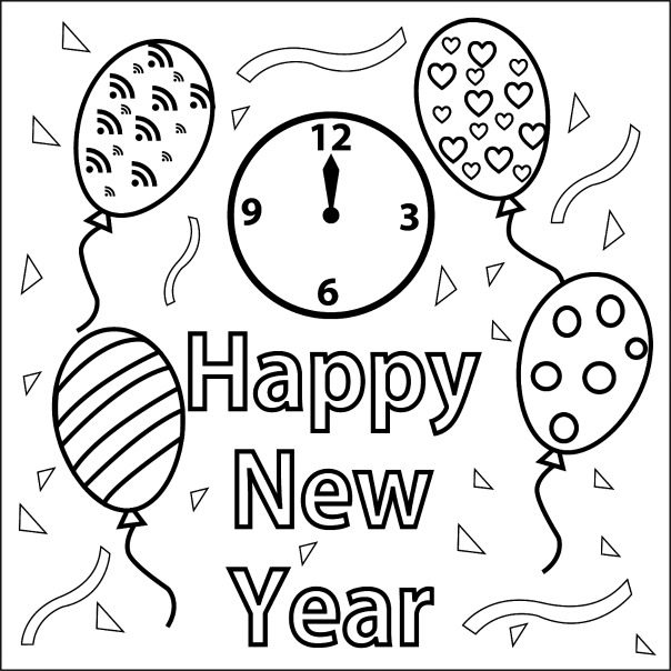 Happy New Year coloring page & book for kids.