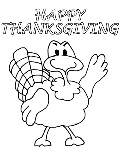 Happy Thanksgiving Turkey coloring page & book for kids.