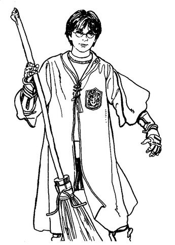 Harry Potter Broom Coloring Page Coloring Page Amp Book For