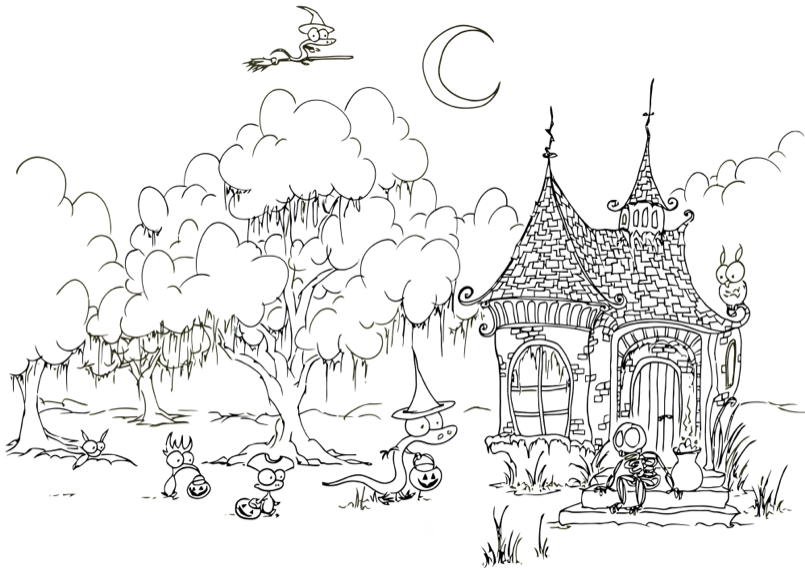 Haunted House Coloring Page Book For Kids