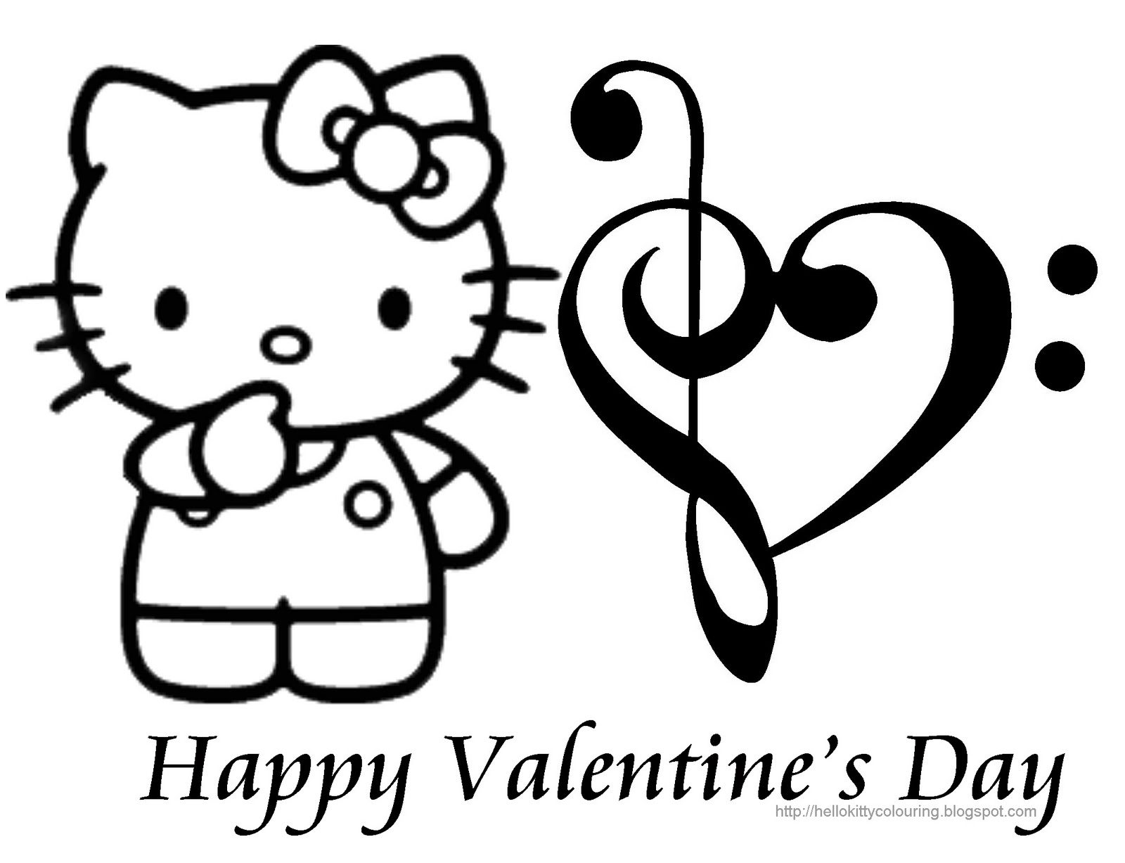 Hello kitty valentines day coloring page