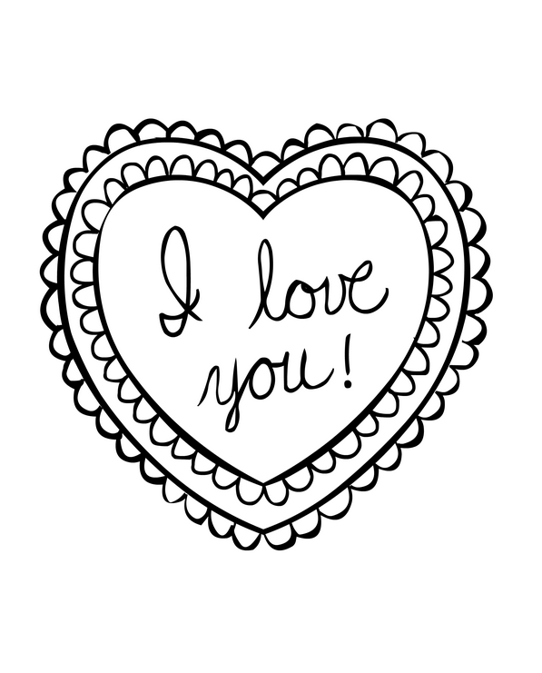 I Love You Coloring Page Coloring Page Book For Kids