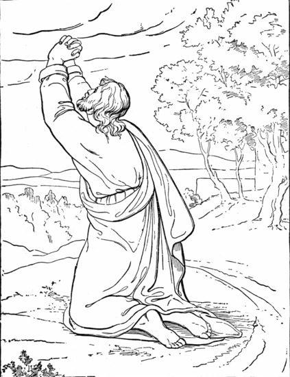 Jesus Praying coloring page & book for kids.