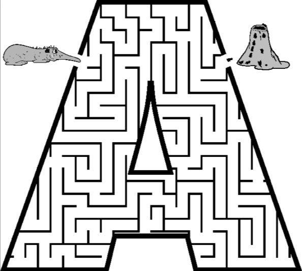 Letter A Printable Maze Coloring Page Book For Kids